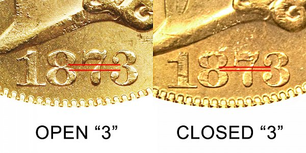 1873 Open 3 vs Closed 3 - $20 Liberty Head Gold Double Eagle - Difference and Comparison