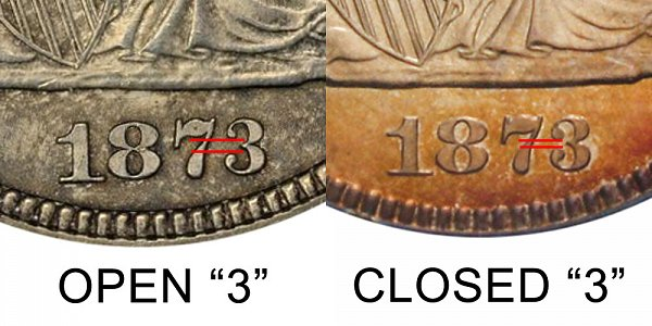 1873 Closed 3 vs Open 3 Seated Liberty Quarter - Difference and Comparison