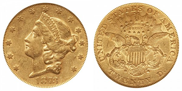 1873 S Closed 3 Liberty Head $20 Gold Double Eagle - Twenty Dollars