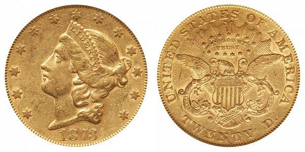 1873 S Closed 3 Liberty Head $20 Gold Double Eagle - Twenty Dollars