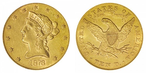 1873 S Liberty Head $10 Gold Eagle - Ten Dollars