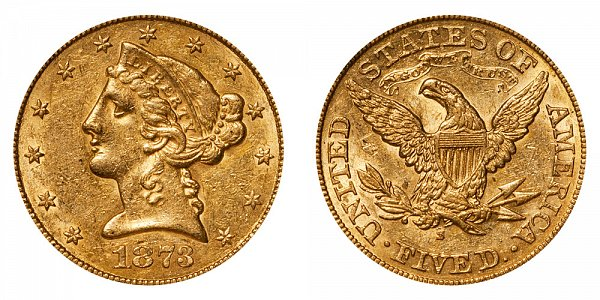 1873 S Liberty Head $5 Gold Half Eagle - Five Dollars