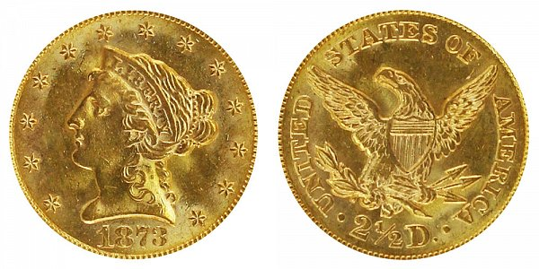 1873 S Liberty Head $2.50 Gold Quarter Eagle - 2 1/2 Dollars