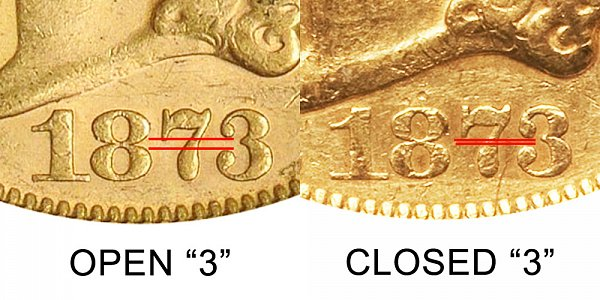 1873-S Open 3 vs Closed 3 - $20 Liberty Head Gold Double Eagle - Difference and Comparison