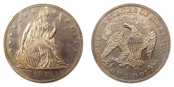 1873 S Seated Liberty Silver Dollar