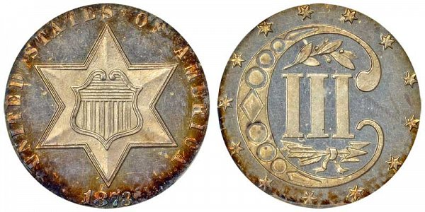 1873 Silver Three Cent Piece Trime