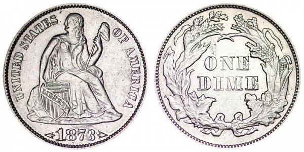 1873 Seated Liberty Dime - With Arrows At Date