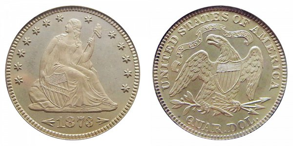 1873 Seated Liberty Quarter - With Arrows