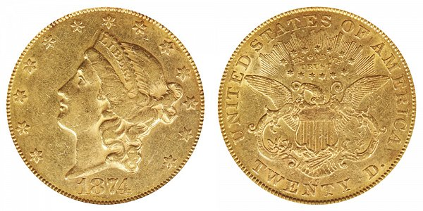 1874 CC Liberty Head $20 Gold Double Eagle - Twenty Dollars