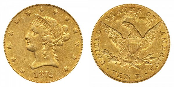 1874 CC Liberty Head $10 Gold Eagle - Ten Dollars