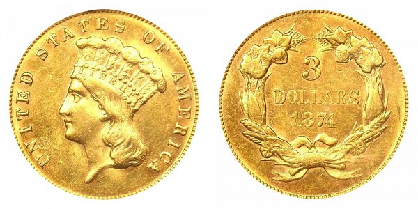 1874 Indian Princess Head $3 Gold Dollars - Three Dollars