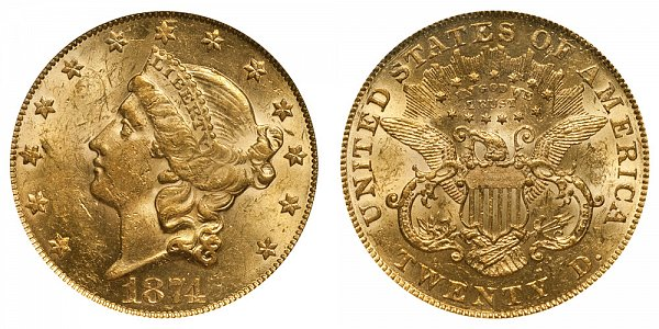 1874 Liberty Head $20 Gold Double Eagle - Twenty Dollars