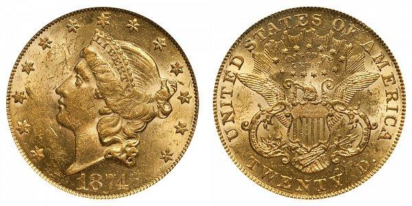 1874 Liberty Head $20 Gold Double Eagle - Twenty Dollars