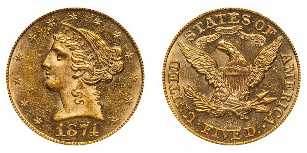 1874 Liberty Head $5 Gold Half Eagle - Five Dollars