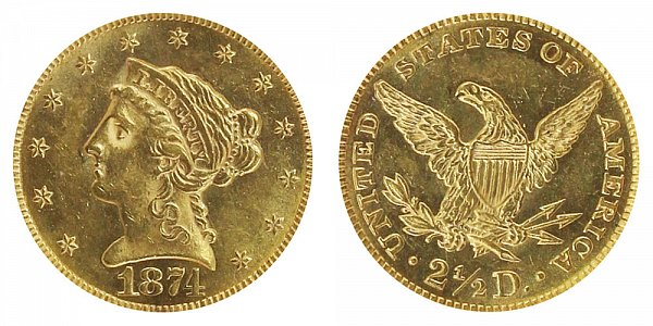 1874 Liberty Head $2.50 Gold Quarter Eagle - 2 1/2 Dollars
