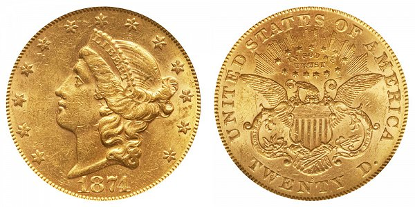 1874 S Liberty Head $20 Gold Double Eagle - Twenty Dollars