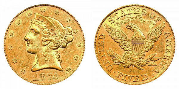 1874 S Liberty Head $5 Gold Half Eagle - Five Dollars