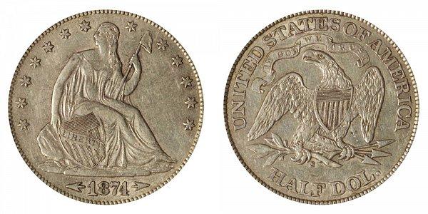 1874 S Seated Liberty Half Dollar