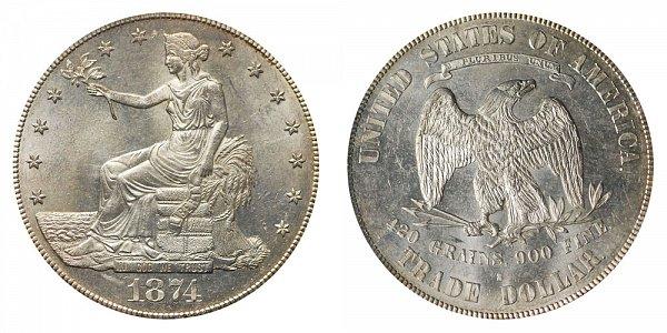 1874 S Trade Silver Dollar