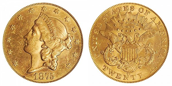 1875 CC Liberty Head $20 Gold Double Eagle - Twenty Dollars