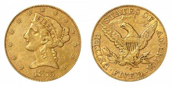 1875 CC Liberty Head $5 Gold Half Eagle - Five Dollars