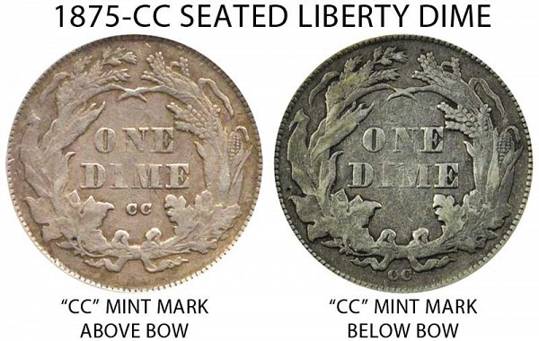 1875 CC Mint Mark Above Bow vs Below Bow Seated Liberty Dime - Difference and Comparison