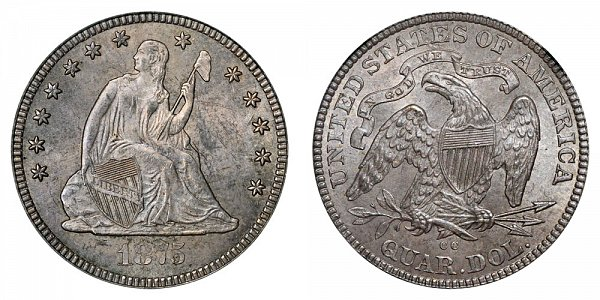 1875 CC Seated Liberty Quarter