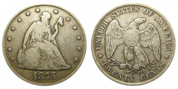 1875 CC Twenty Cent Piece