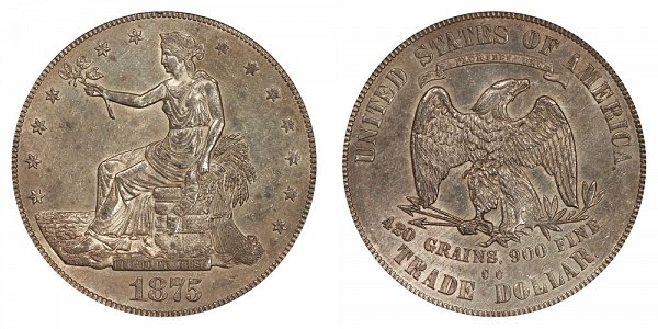 1875 CC Type 1 Trade Silver Dollar