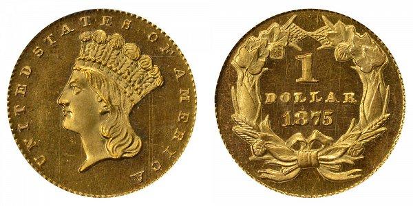 1875 Large Indian Princess Head Gold Dollar G$1