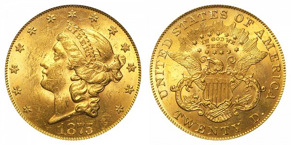 1875 Liberty Head $20 Gold Double Eagle - Twenty Dollars