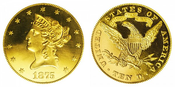 1875 Liberty Head $10 Gold Eagle - Ten Dollars