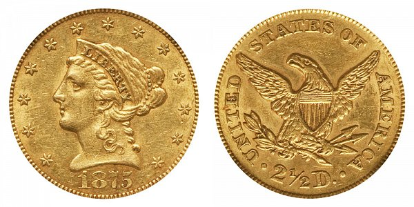 1875 Liberty Head $2.50 Gold Quarter Eagle - 2 1/2 Dollars