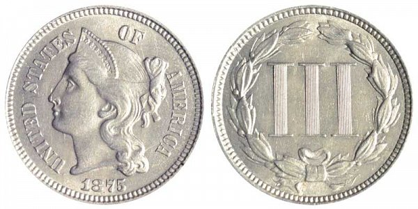 1875 Nickel Three Cent Piece