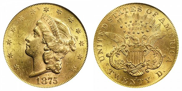 1875 S Liberty Head $20 Gold Double Eagle - Twenty Dollars