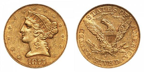 1875 S Liberty Head $5 Gold Half Eagle - Five Dollars