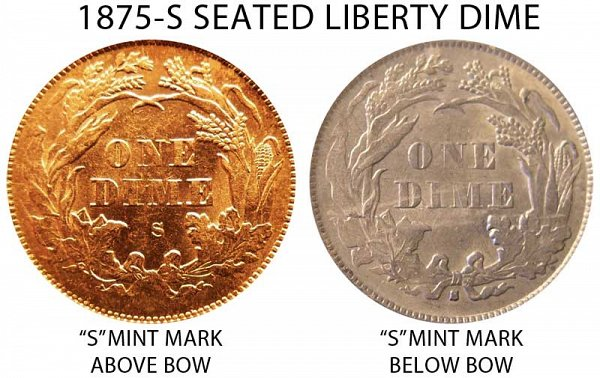 1875 S Mint Mark Above Bow vs Below Bow Seated Liberty Dime - Difference and Comparison