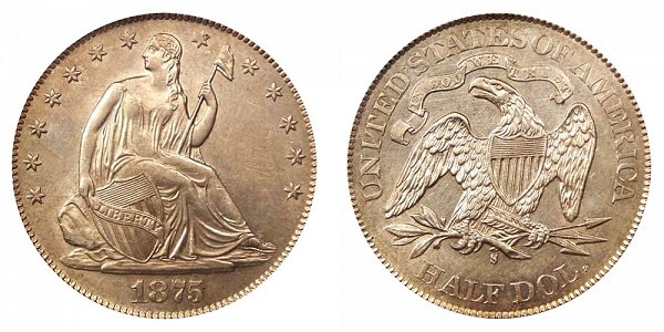 1875 S Seated Liberty Half Dollar