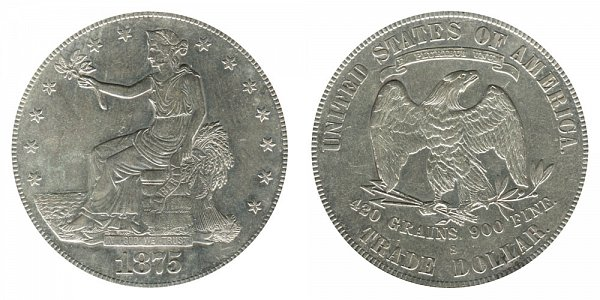 1875 S Type 2 Trade Silver Dollar