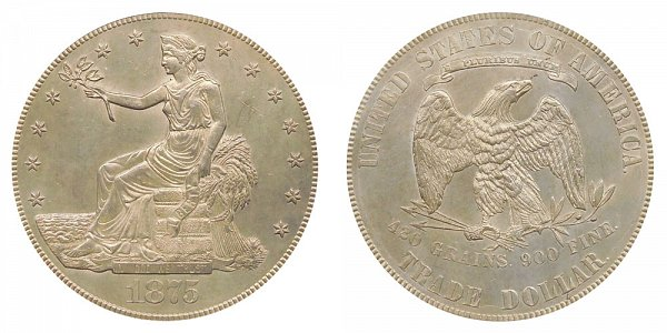 1875 Type 2 Trade Silver Dollar