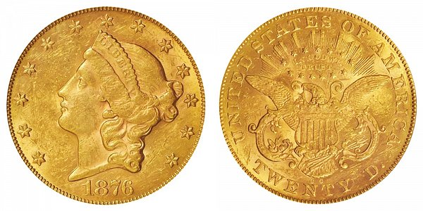 1876 CC Liberty Head $20 Gold Double Eagle - Twenty Dollars