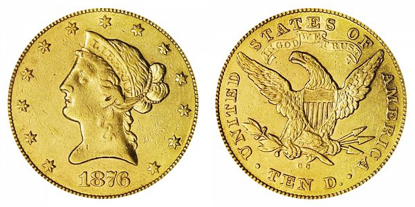1876 CC Liberty Head $10 Gold Eagle - Ten Dollars