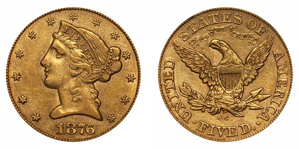 1876 CC Liberty Head $5 Gold Half Eagle - Five Dollars