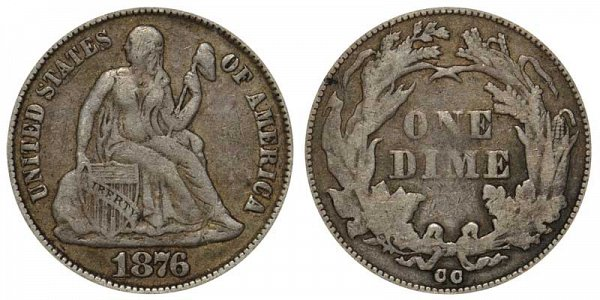 1876 CC Seated Liberty Dime