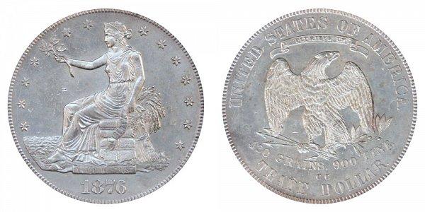 1876 CC Trade Silver Dollar - Type 1 Obverse - Type 2 Reverse