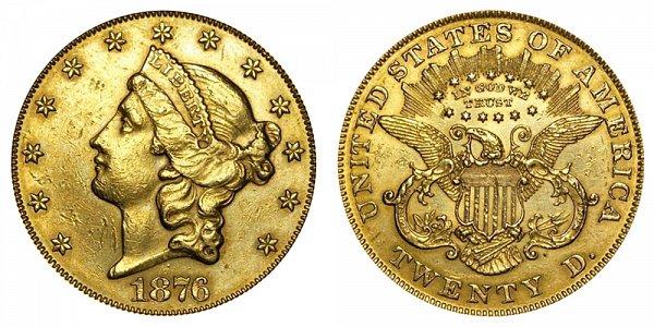 1876 Liberty Head $20 Gold Double Eagle - Twenty Dollars