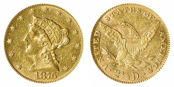 1876 Liberty Head $2.50 Gold Quarter Eagle - 2 1/2 Dollars