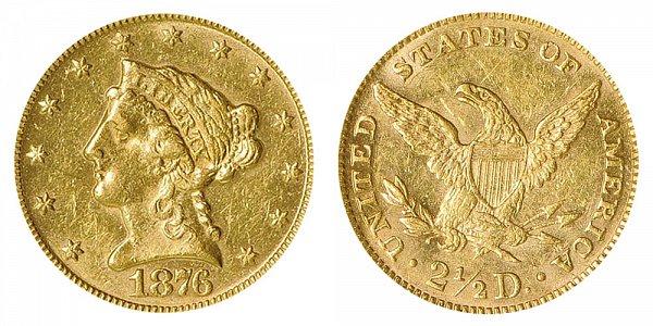 1876 Liberty Head $2.50 Gold Quarter Eagle - 2 1/2 Dollars
