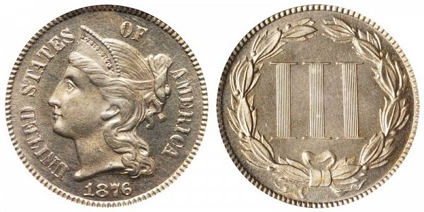 1876 Nickel Three Cent Piece