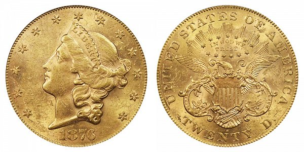 1876 S Liberty Head $20 Gold Double Eagle - Twenty Dollars